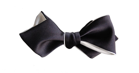 Thunderball: 6-Way Black & White Diamond Point bow tie