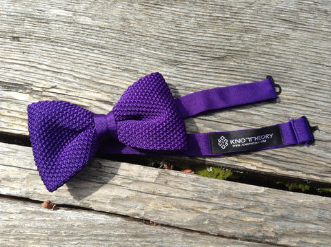 Pre-tied Knitted Bow Tie: Royal Purple