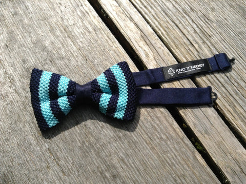 Pre-tied Blue with Aqua Striped Knit Bow Tie