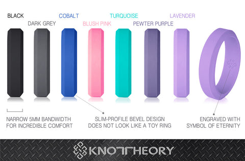 Bevel Silicone Wedding Rings for Women & Men in 5mm, 6mm Bandwidths ★ Blush Pink, Lavender Purple, Teal Turquoise, Cobalt Blue, Black, Dark Grey