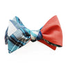 6-Way Blue Madras & Orange Cotton bow tie