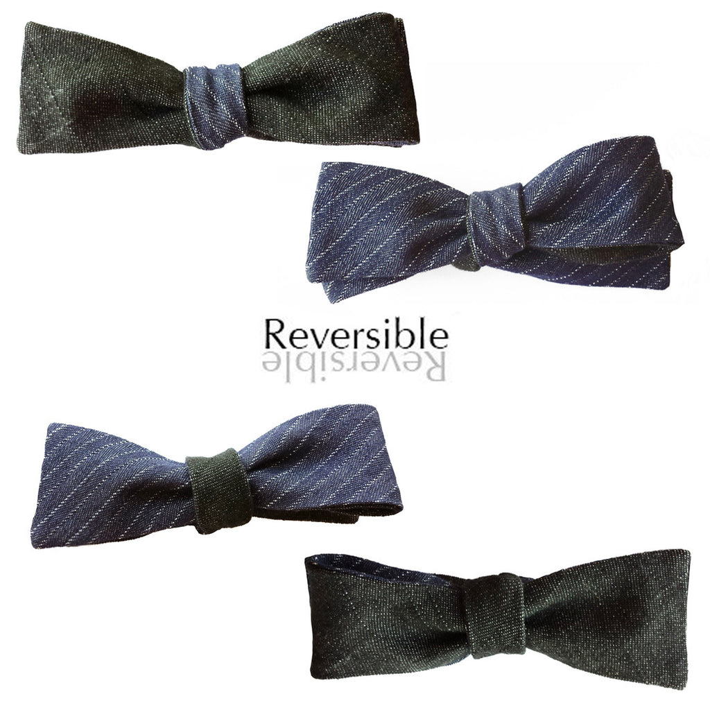 Blue Pinstripe and Black Denim Bow Tie - Batwing 6-Way Reversible