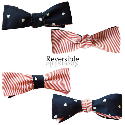White Hearts and Pink Stripes Blue Bow Tie - Batwing Reversible