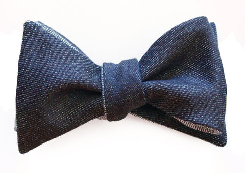 Italian Denim Blue Butterfly Self-Tie Bow Tie