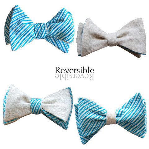 6-Way Beige Linen & Blue Seersucker bow tie