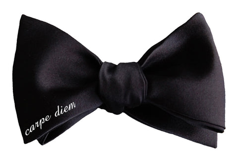 Carpe Diem Black Self-tie Bow Tie