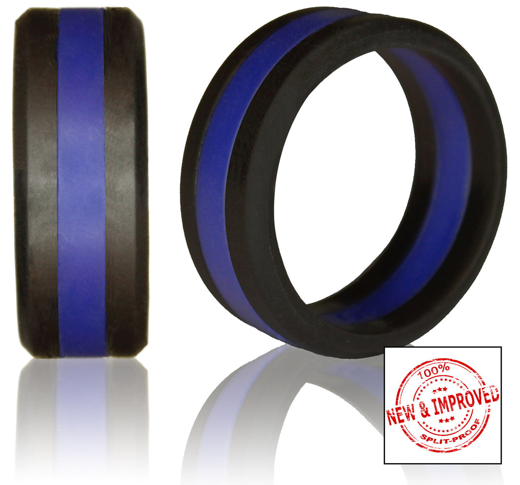 8mm non bulky striped silicone wedding rings by knot theory striped silicone wedding rings in 8mm bandwidth black bevel band with red blue biocorpaavc Image collections
