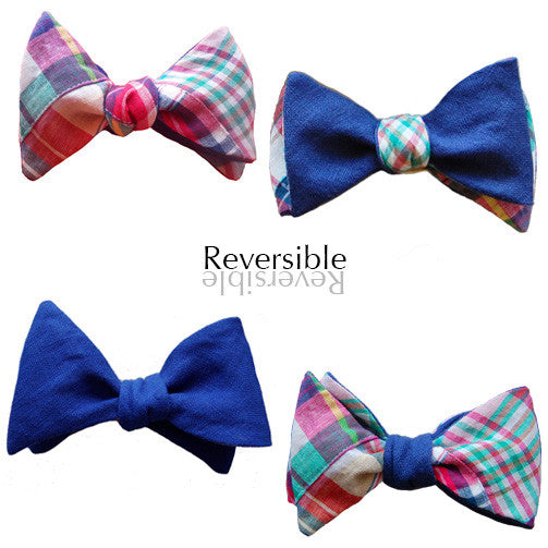 6-Way Blue Linen & Pastel Madras bow tie