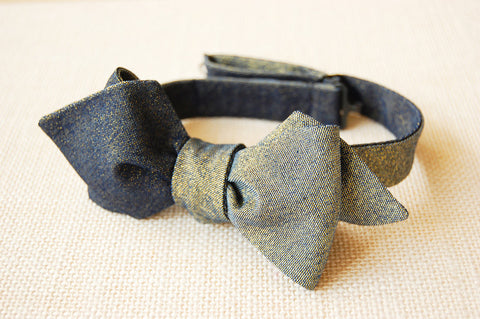 Blue Denim Gold Dust Bow Tie - 6-Way Reversible