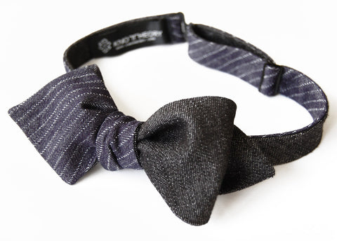 Blue Pinstripe and Black Denim Bow Tie - 6-Way Reversible