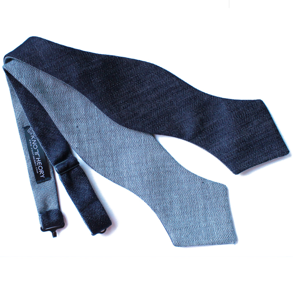 Diamond Point Italian Denim Self-Tie Bow Tie