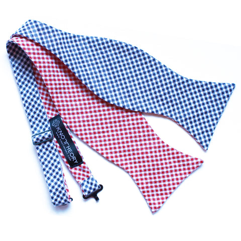 Americano: Red and Blue Seersucker Self-Tie Bow Tie