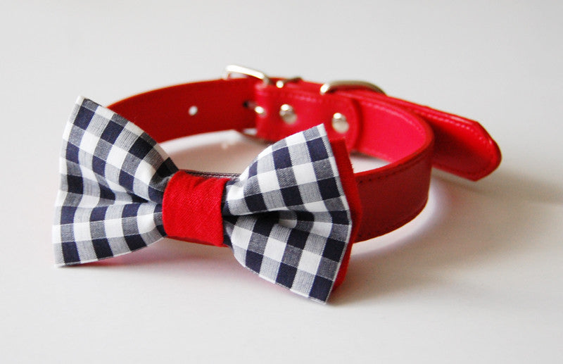 Walk in the Park Gingham Dog bow tie