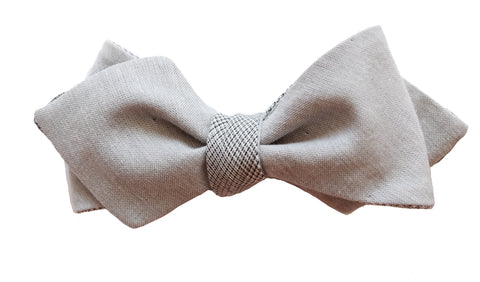 A Fine Day in Sicily: Grey Chambray and Fine Plaid Cotton Bow Tie