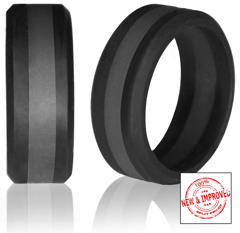Striped Silicone Wedding Rings In 8mm Bandwidth Black Bevel Band With Red Blue