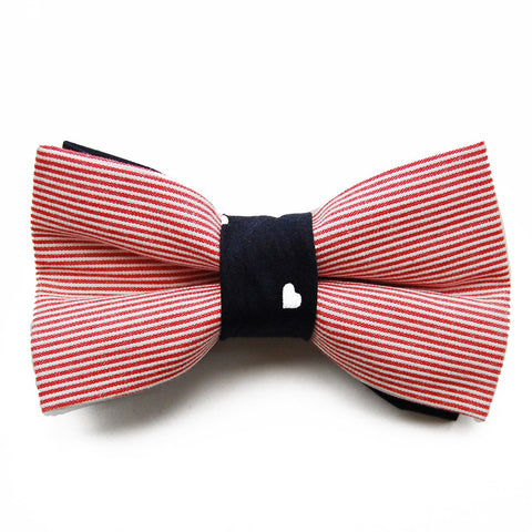 Pink Stripes and Hearts dog bow tie