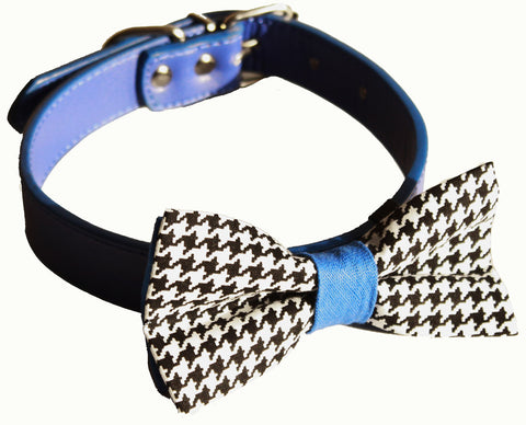Houndstooth Blue Dog bow tie