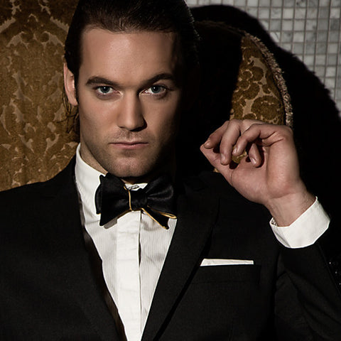 Goldfinger: Black & Champagne Gold James Bond Butterfly bow tie