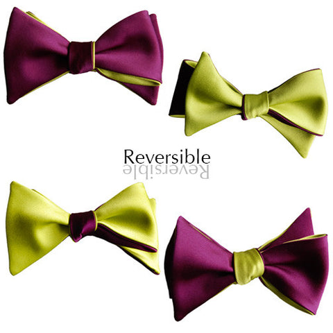 6-Way Merlot Purple & Citrus Green Butterfly bow tie