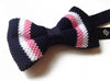Pre-tied Navy Blue, Pink, White Striped Knit Bow Tie