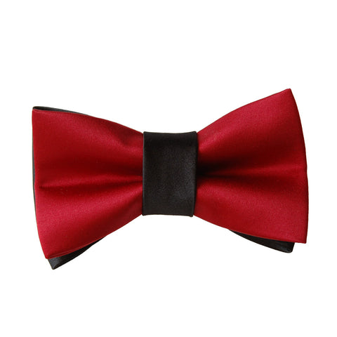 The World is Not Enough: Red and Black satin dog bow tie