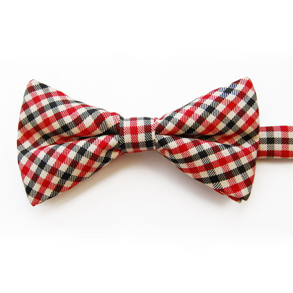 Gingham Garden Party: Red and Black Plaid Pre-tied Bow Tie