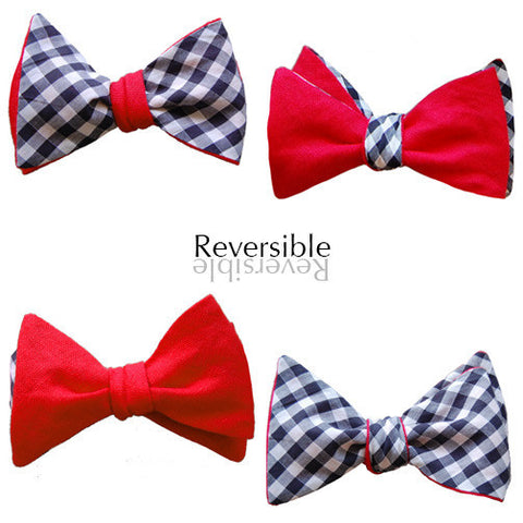 6-Way Red Linen and Blue Gingham self-tie bow tie