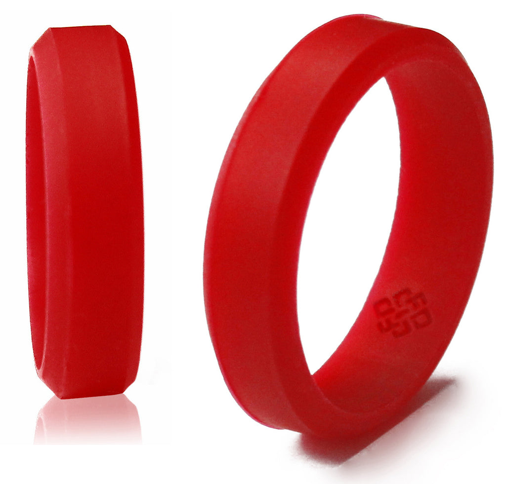 Bevel Silicone Wedding Rings For Men And Women In 5mm, 6mm, 8mm Bandwidths ☆
