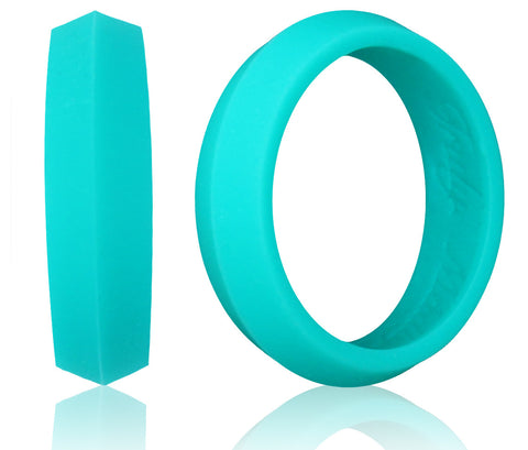 K-Edge Silicone Wedding Rings for Women & Men ★ 5mm Bandwidth ★ Light Grey, Black, Teal Turquoise, Coral Pink, Purple, White