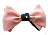 White Hearts and Pink Stripes Blue Bow Tie - 6-Way Reversible
