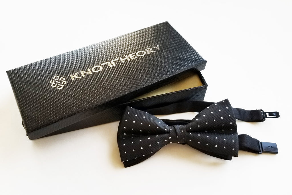 Pre-tied Black Butterfly Bow Tie with White X Polka Dots