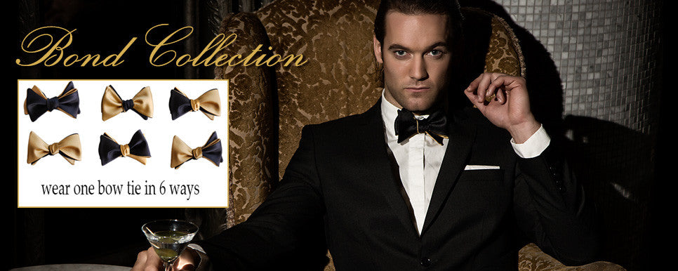 James Bond black and gold NYE bow tie
