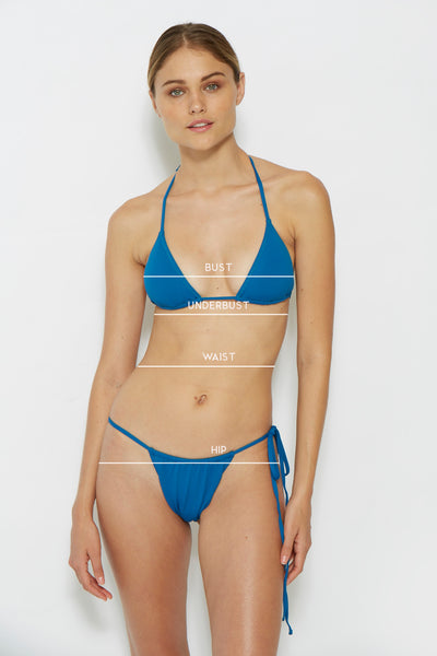 Find where to measure to find your bust, underbust, waist, and hip measurements.