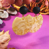 'Change Initiation' Black Lava Lucite Earrings - Gold