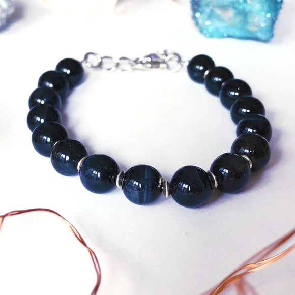 'Spiritual Warrior' Blue Tiger's Eye Bracelet - Silver
