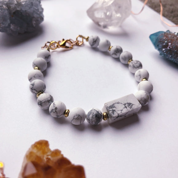 'Strength & Stability' White Marble Bracelet (Gold)