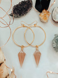 'Be Gentle With Yourself' Faceted Peach Moonstone Hoop Earrings - Gold Earrings