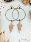 'Be Gentle With Yourself' Faceted Peach Moonstone Hoop Earrings