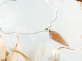 'Be Gentle With Yourself' Peach Moonstone Faceted Necklace