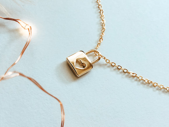 'Make A Promise To Yourself' Hardware Padlock Charm Necklace - Gold Necklace