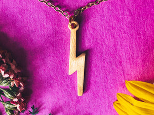 'Focused B*tches Get Sh*t Done' Lightning Bolt Necklace - Gold Chain