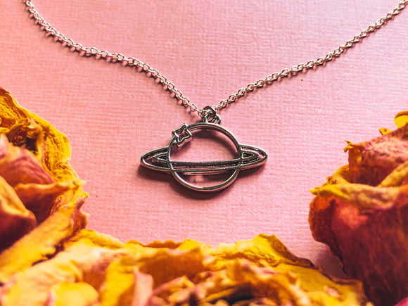 'Tenacious Perseverance' Saturn Charm Necklace