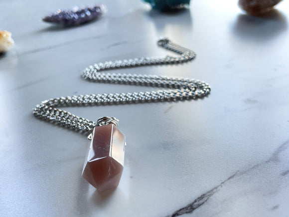 'Be Gentle With Yourself' Peach Moonstone Faceted Necklace - Silver Chain