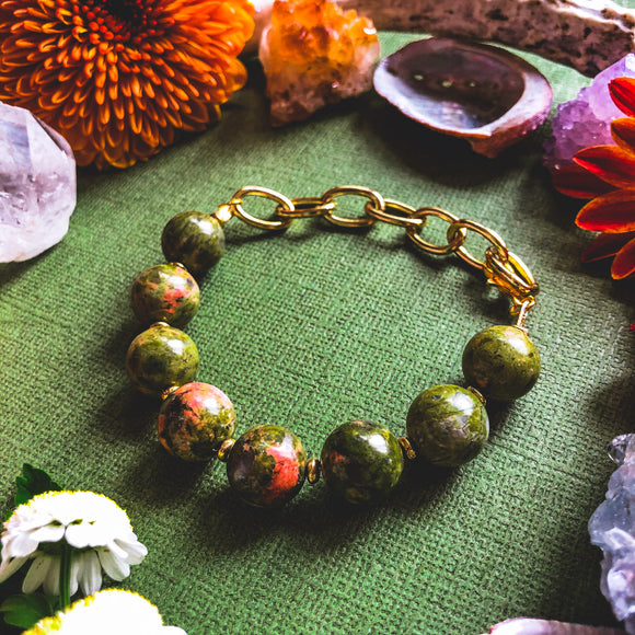 'Let Go Of All That Is Heavy' Unakite Beaded Bracelet