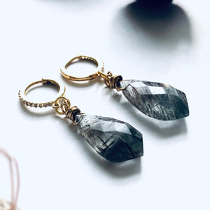'Get Lucky' Faceted Tourmalinated Quartz Cuff Earrings