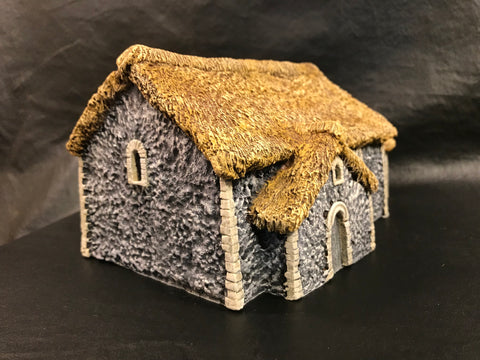 28mm Flint Church with thatched roof.