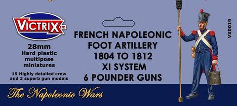French Napoleonic Foot Artillery 1804 to 1812, XI System, 6 Pounder Guns