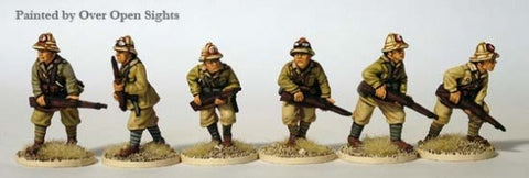 ITWW 7 Italian Riflemen advancing, tropical helmets.