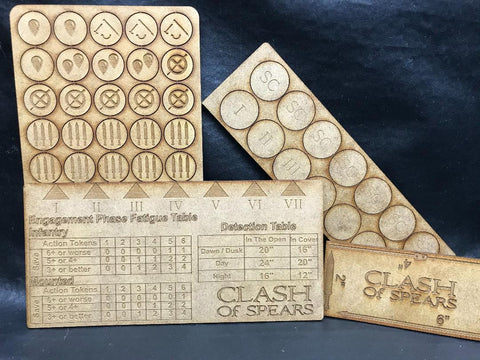 Clash of Spears Gaming Tokens, Markers and Ruler
