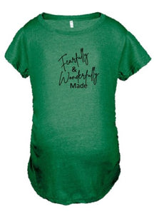 Heather Green Scrunched Sides Maternity Tee - Fearfully & Wonderfully Made